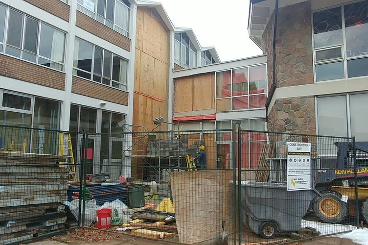 construction progress on the elevator by the patio