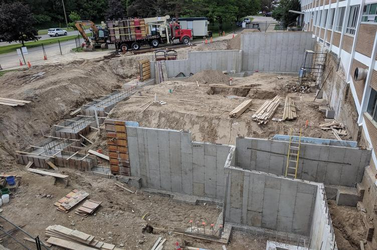 concrete walls go up during construction