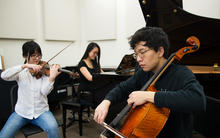 students practicing music