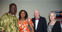 2014 Lebold Banquet speaker Roberson Mbayamvula stands  with his wife, Caris Bango, as well as Ralph and Eileen Lebold.