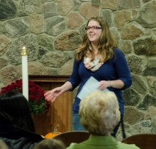 Female student speaking at the Grebel Chapel