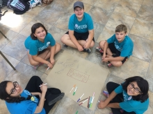 Peace Campers and Leader making a mind map about good and bad elements of business
