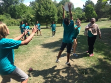 Peace Campers playing Ultimate Frisbee
