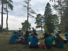 Peace Campers listening to a tour guide at the Ignatius Jesuit Centre