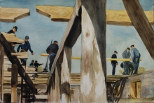 Painting of a barn raising by Peter Goetz.