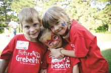 Children wearing Grebel shirts