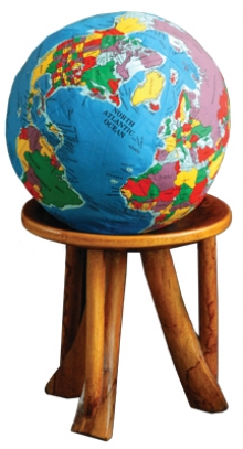 Master of Peace and Conflict Studies stool and globe