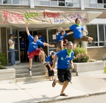 Students welcoming new residents
