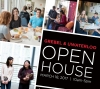 Grebel Uwaterloo Open house poster with images of students eating, students in dorm room, stuents studying and students walking