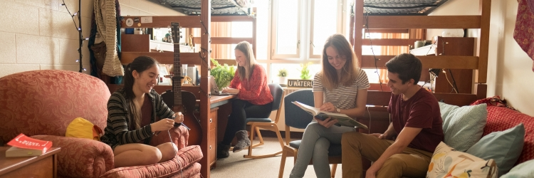 Grebel students hanging out in residence room
