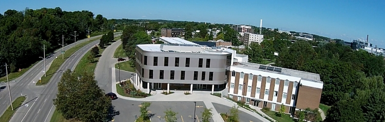 Aerial view of the Conrad Grebel University College Building
