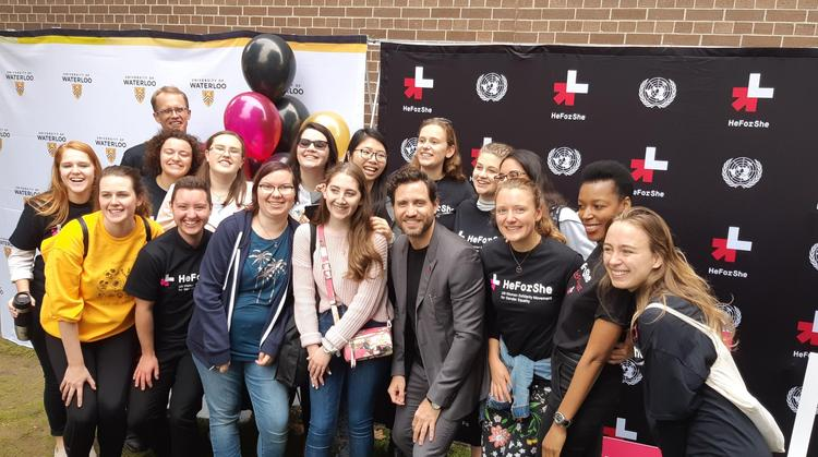 Group of grebel students poses at he for she rally