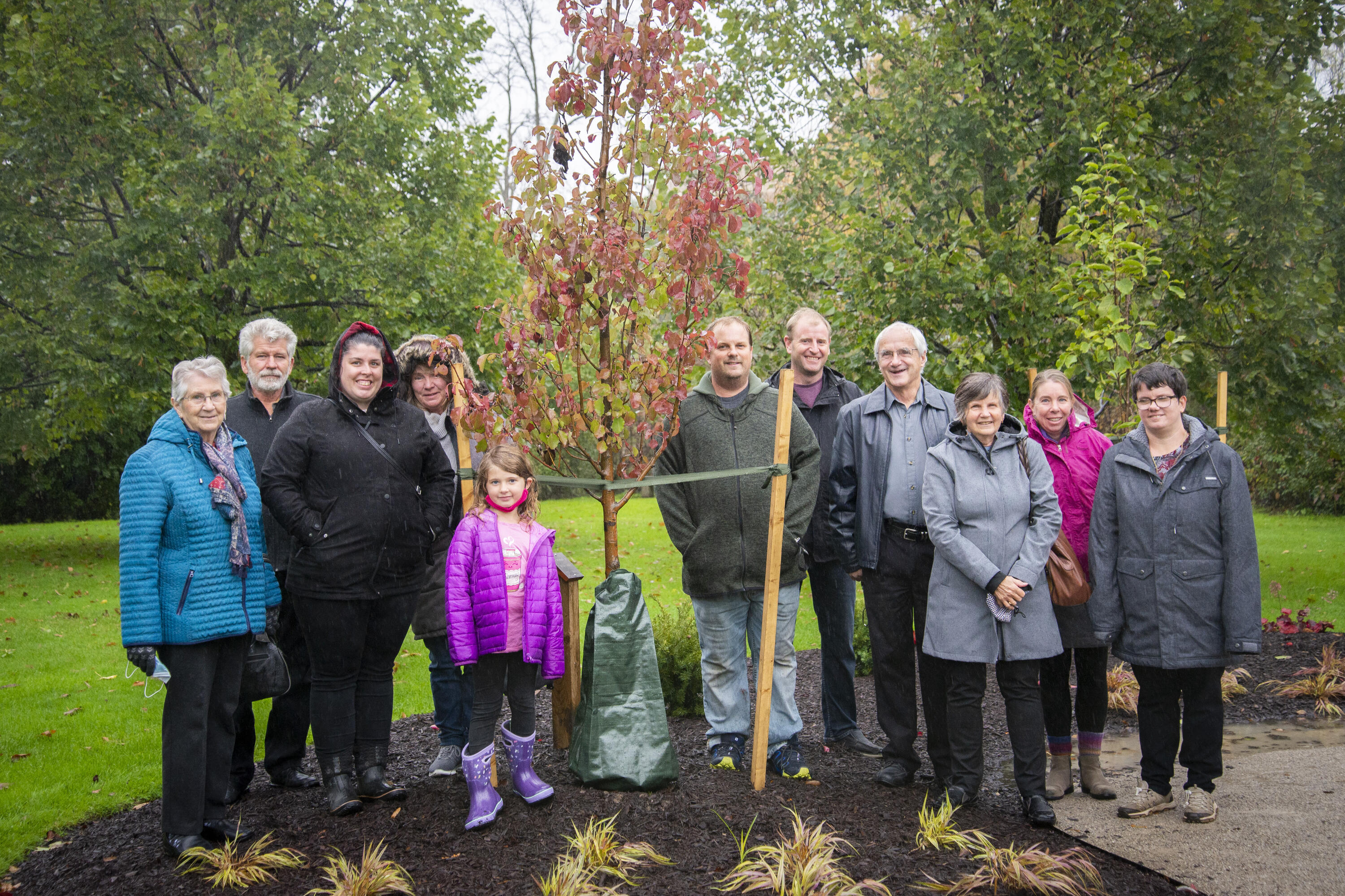 Families of students gathered to dedicate a new student memorial garden