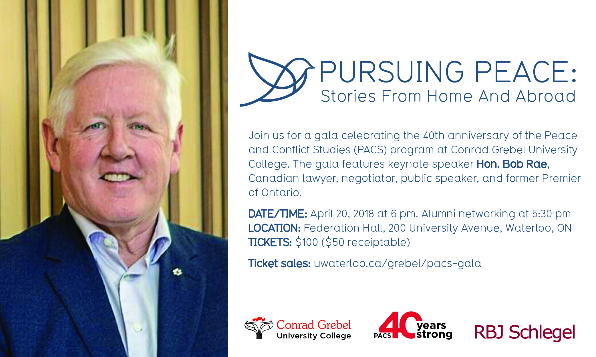 Pursuing Peace graphic with image of Bob Rae