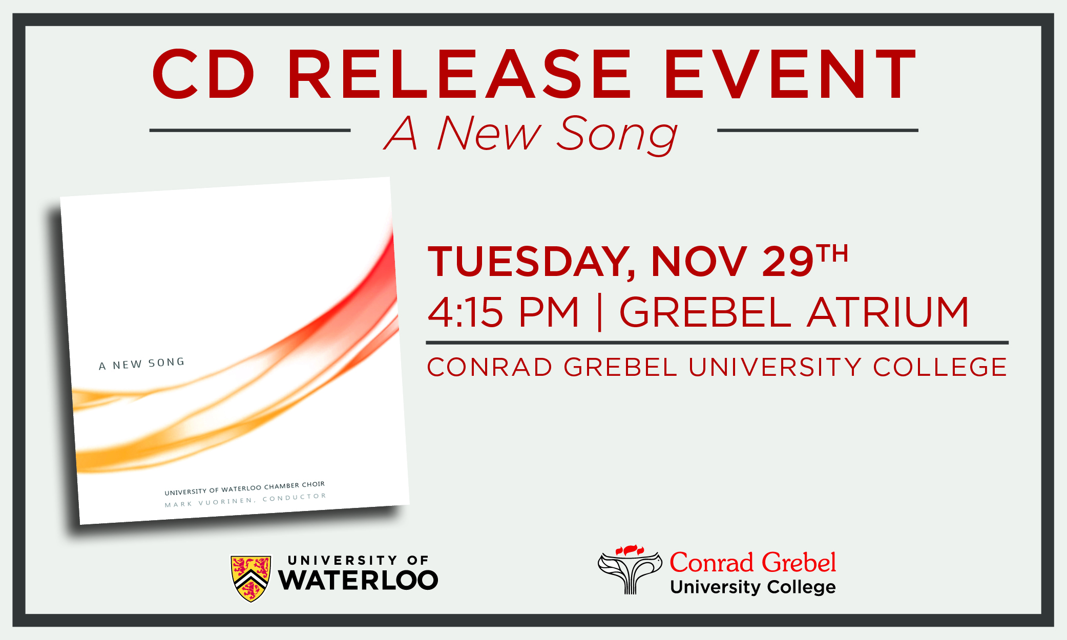 A New Song CD Release Event shareable graphic