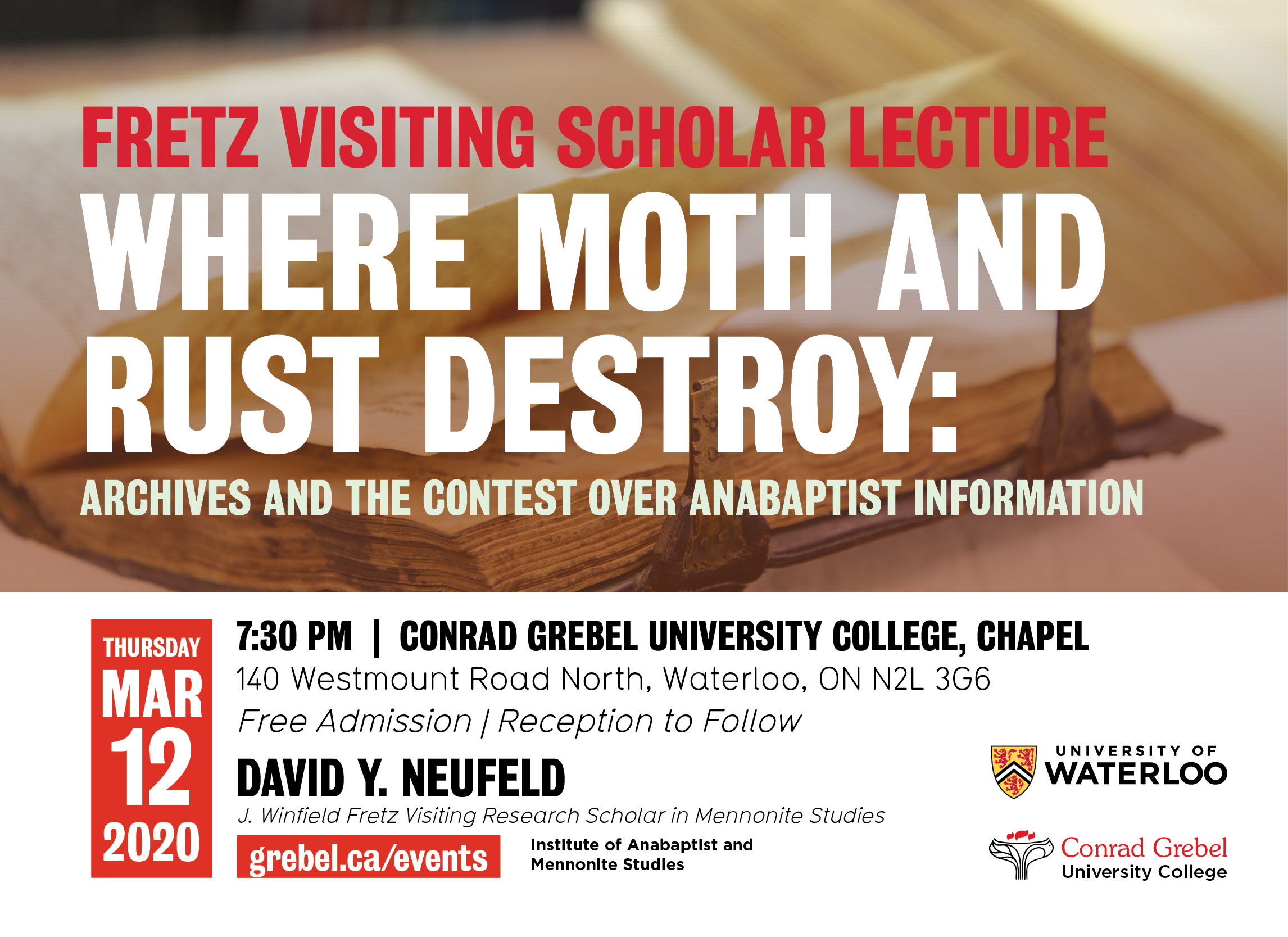 Invitation to Fretz lecture featuring an old book