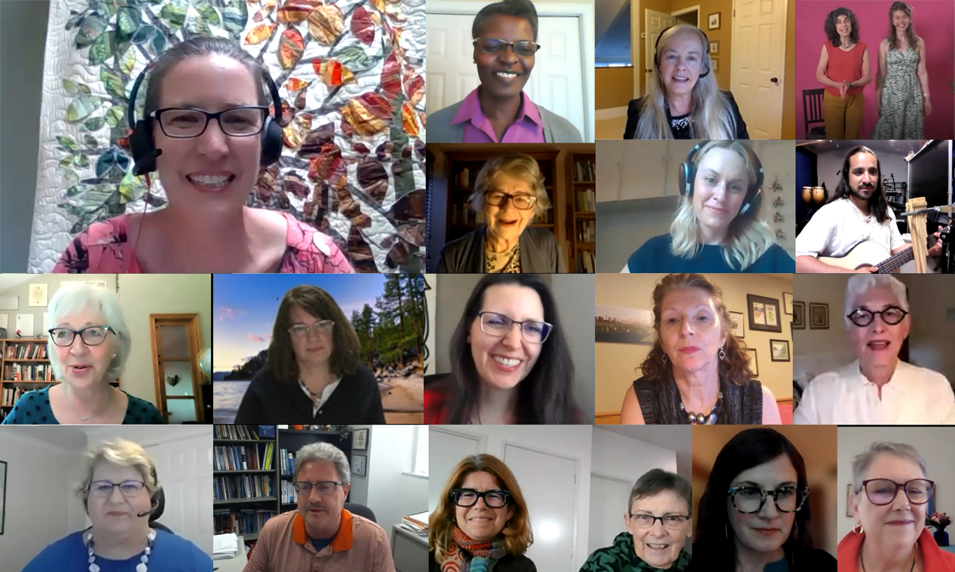 A combined photo of screenshots including all 19 live speakers for the conference