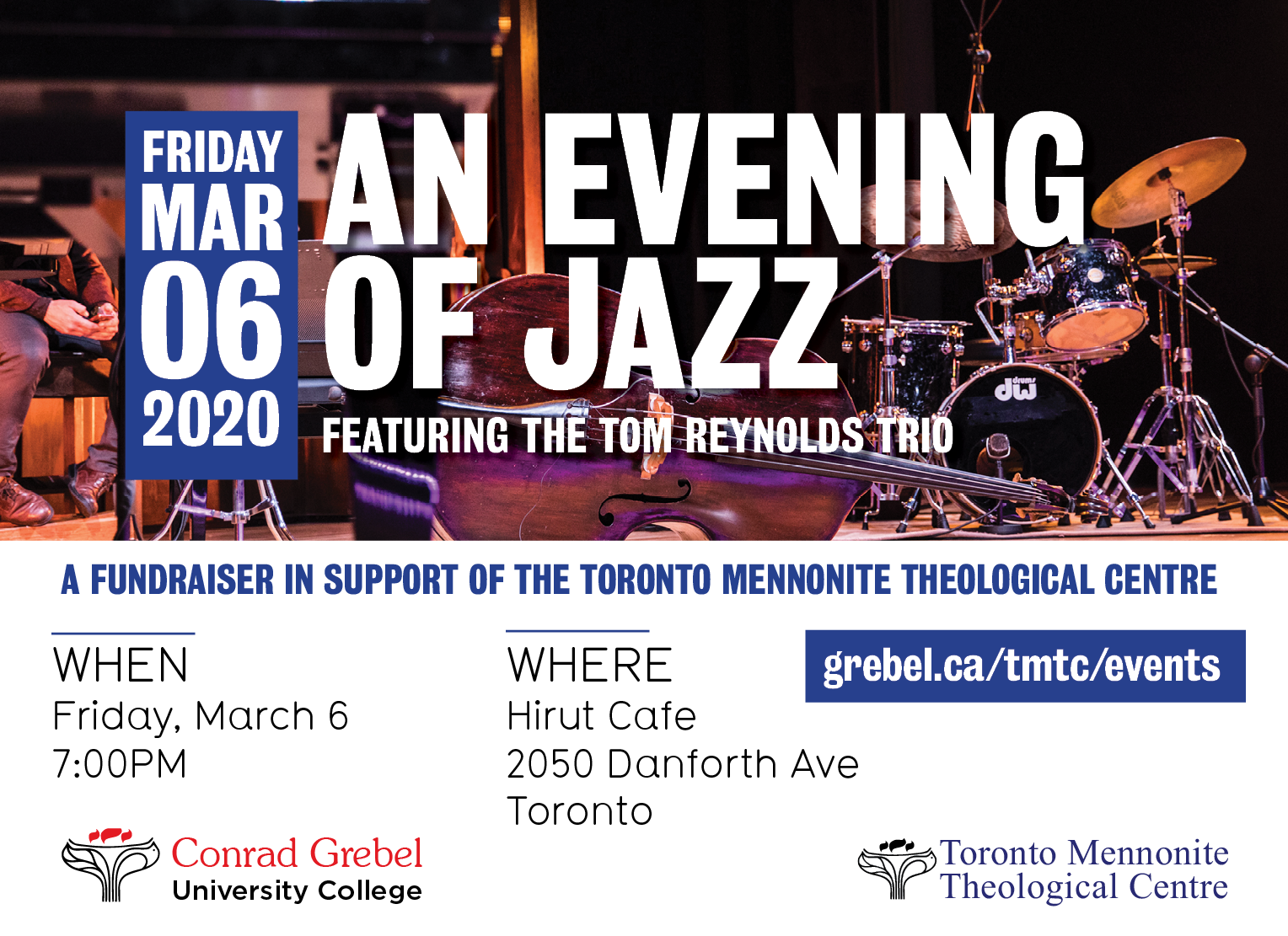 An evening of Jazz in support of TMTC fundraiser invitation