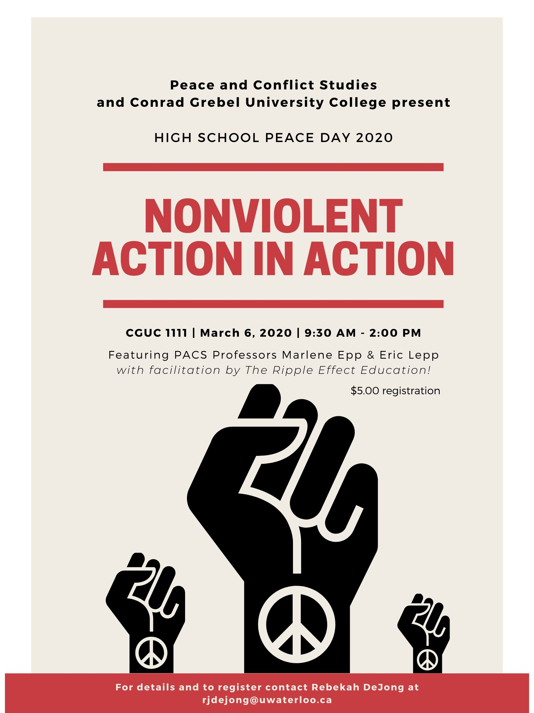 Nonviolent action in action poster that shows three fists that are raised in solidarity and peaceful protest