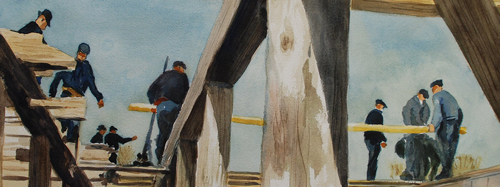 Painting of Mennonites in the frame of a barn
