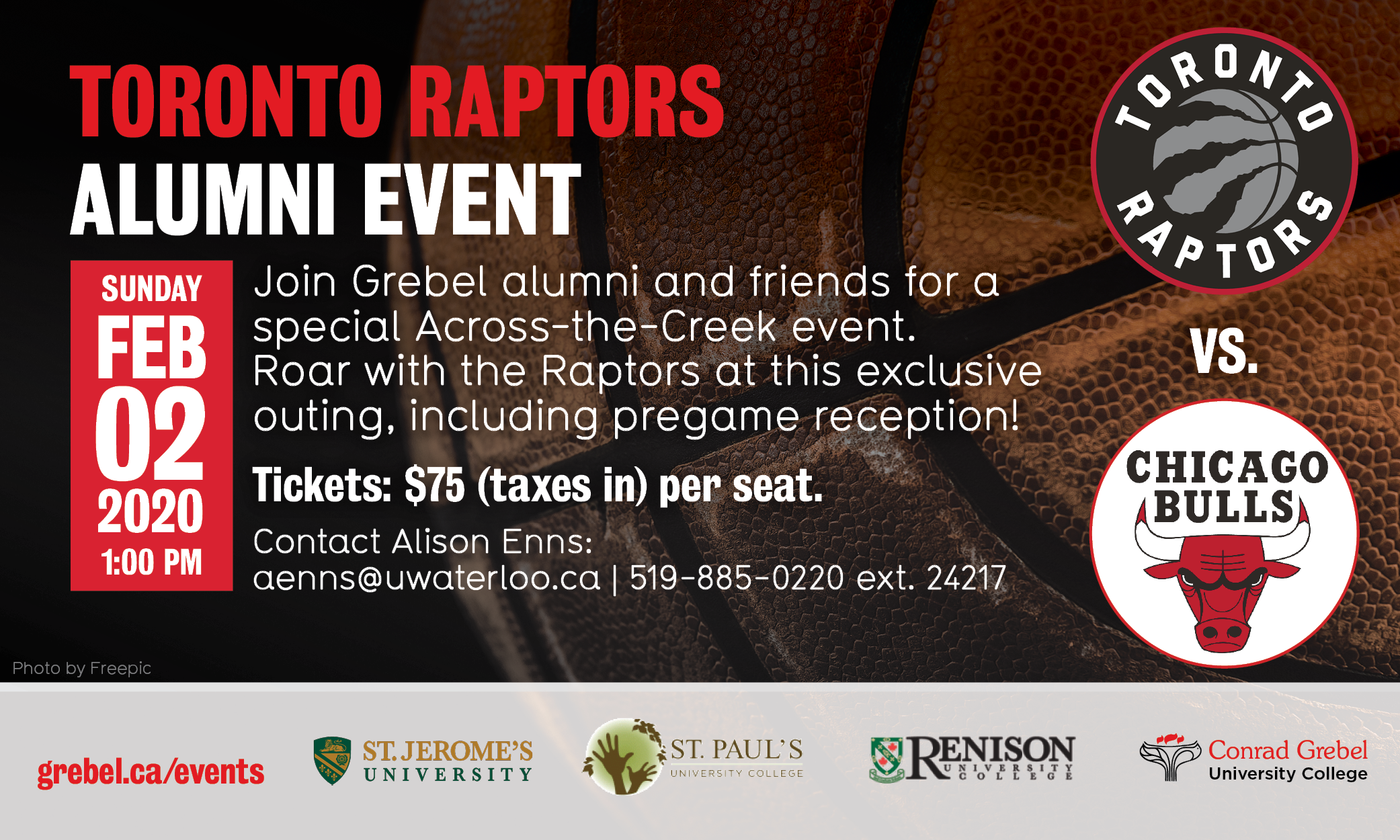 raptors game grebel alumni invitation