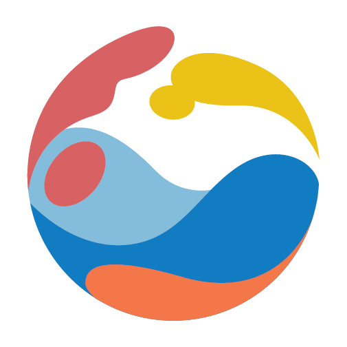 The logo of the Together In Worship website. A circle with swirling reds, blues, and yellows.