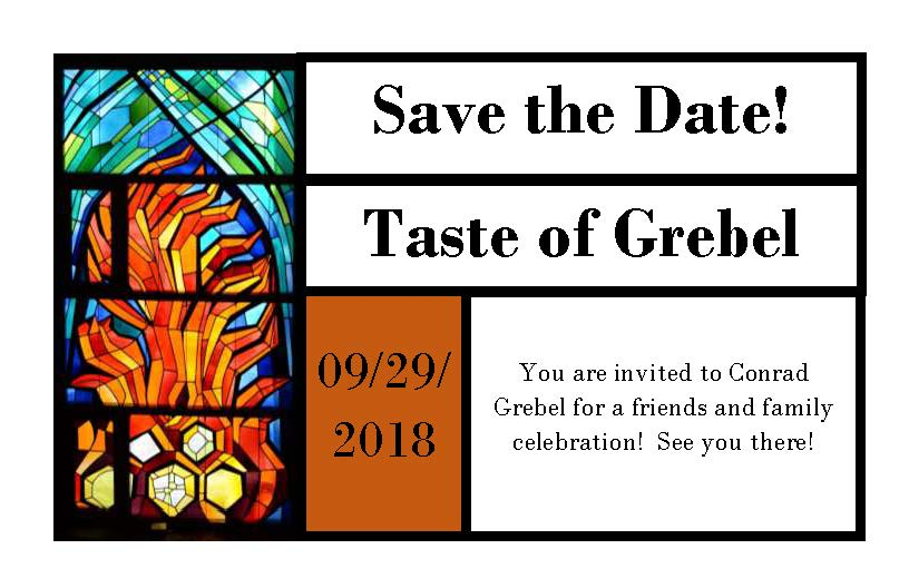 Taste of Grebel invitation September 29, 2018