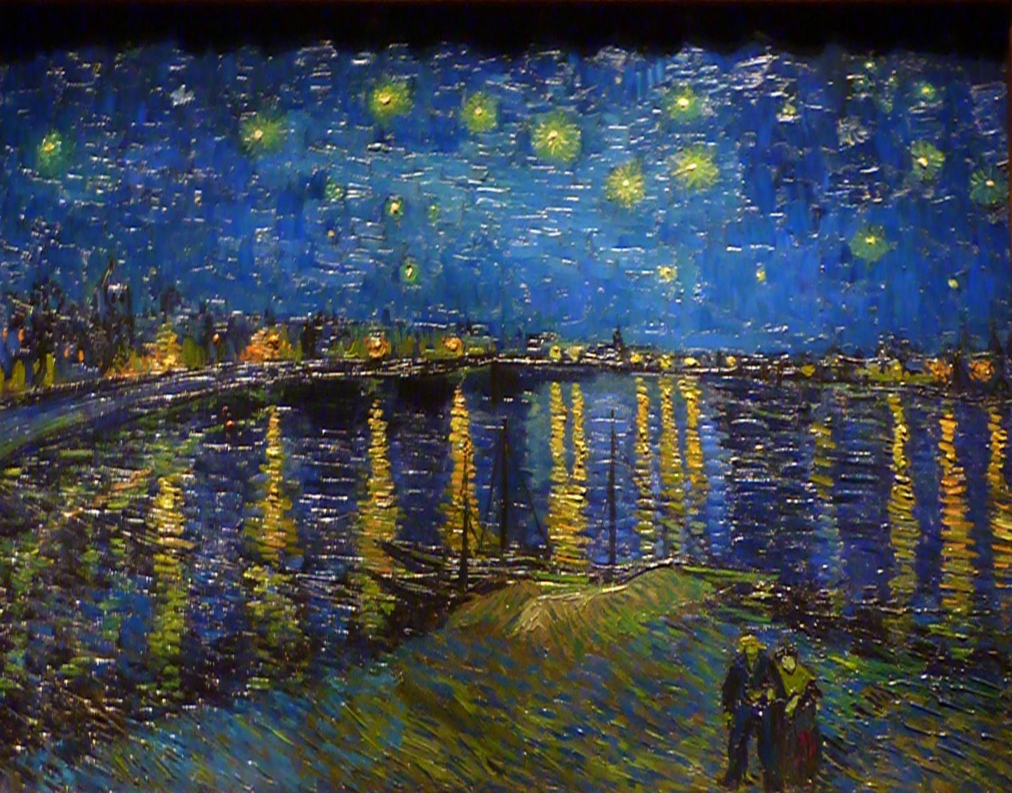 starry night over the rhone by This is the spot where van gogh painted starry night over the rhône (1888)  now hanging in paris' musée d'orsay when conditions are right, you can see at.
