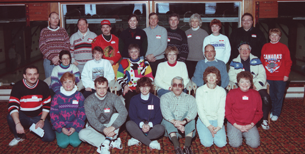 Group photo of curlers in lounge.