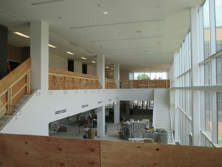 The atrium with temporary wood guards.