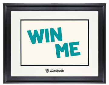 Black diploma frame with University of Waterloo embossed on the mat.