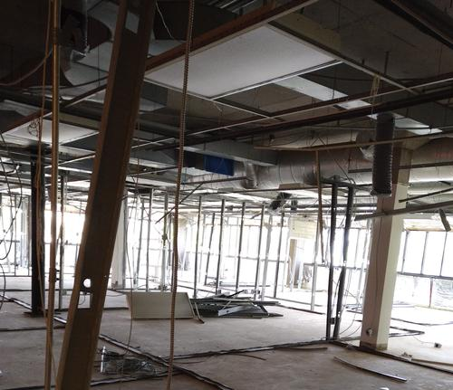 Construction zone with walls removed on second floor of BMH