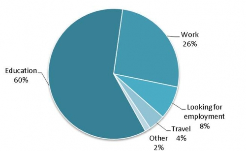 pie chart showing pursuits of Health Studies grads one year after graduation
