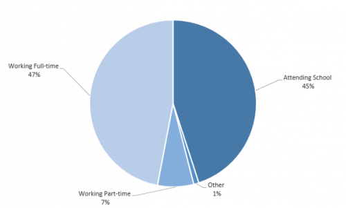 Pie chart showing AHS Class of 2012 pursuits after graduation. The wedges and their percentages are Attending school – 45%, Working full time – 47%, Working part-time – 6%, Looking for employment – 7%, Other – 1%.