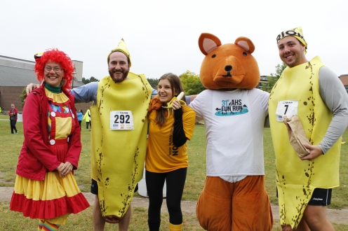 AHSSIE the mascot and participants dressed in costumes