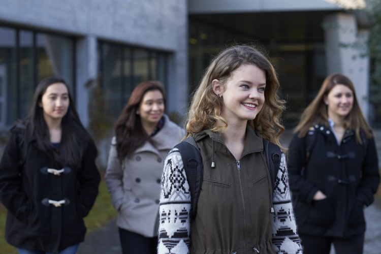 Applied Health Sciences students walking to class