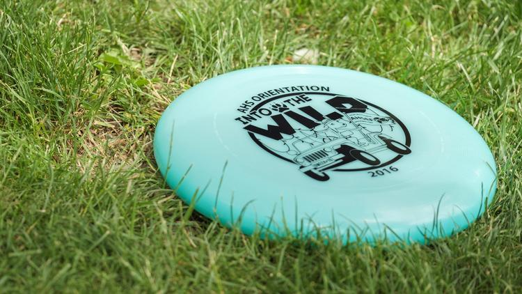 Blue frisbee from orientation 2016 lying on the grass