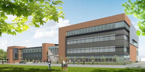 Architect's rendering of new Applied Health Sciences expansion building