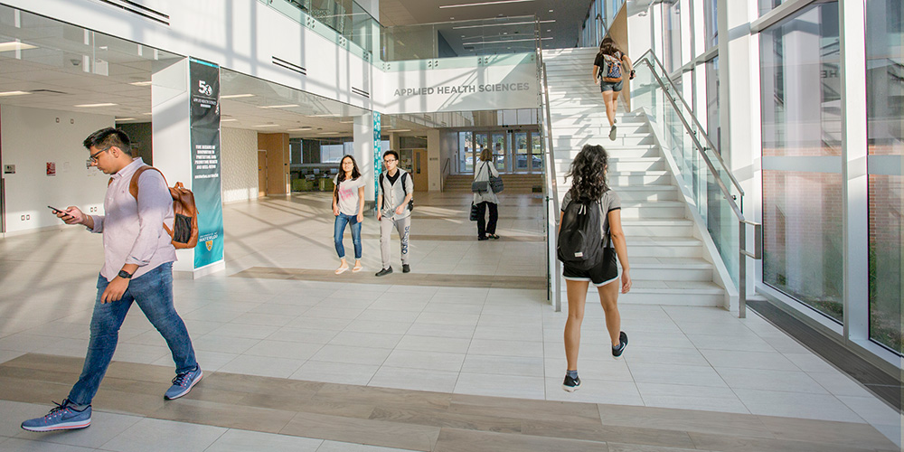 Students in Applied Health Sciences Foyer.
