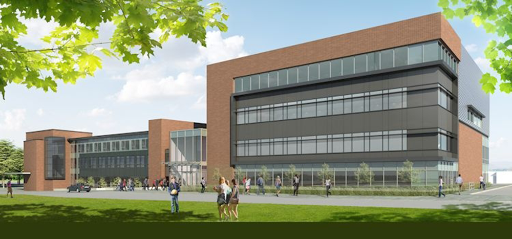 Applied Health Sciences Expansion Building rendered photo.