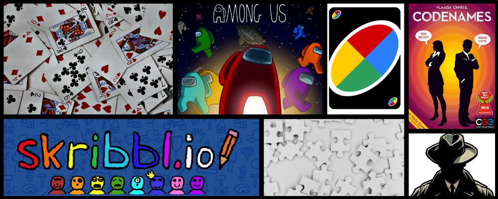 Collage of popular games, including Uno, Codenames, and Among Us
