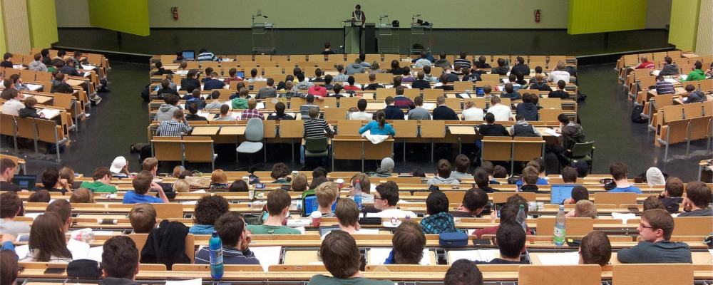 View of a large classroom from the back.