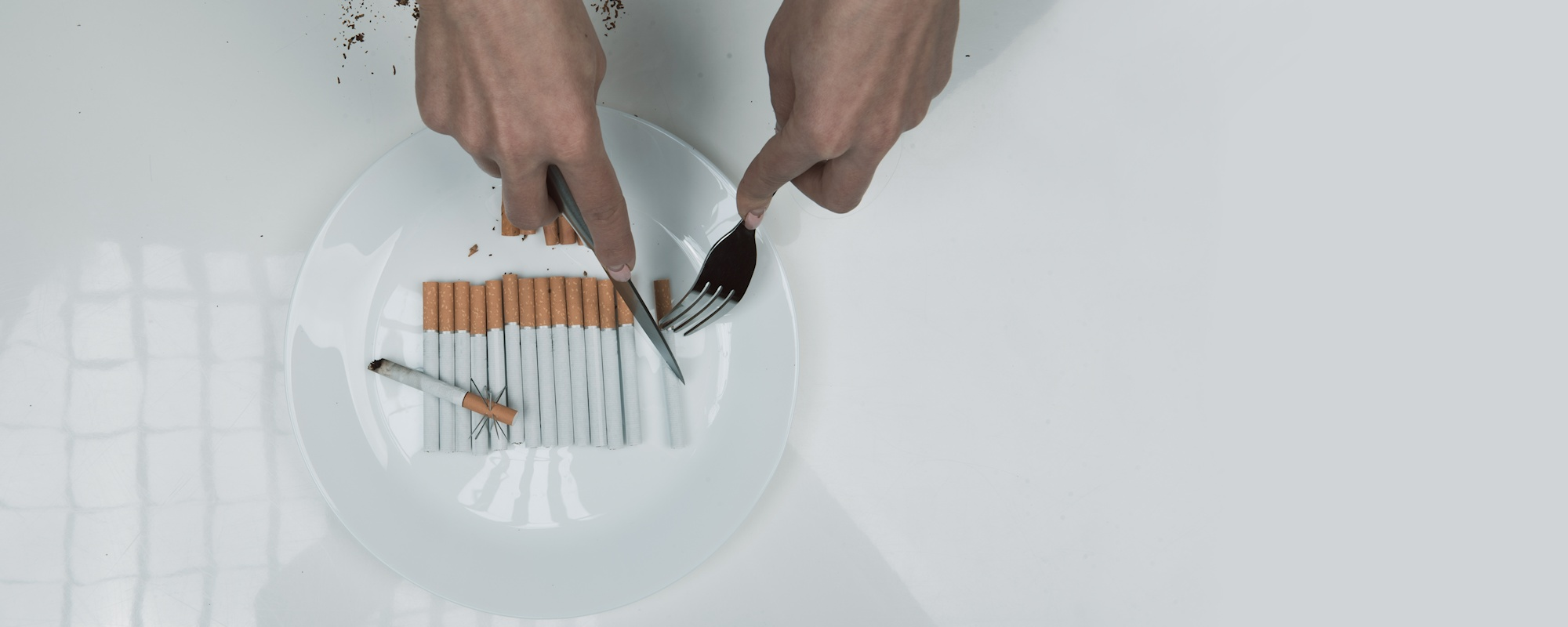 Person using cutlery on cigarettes on a plate