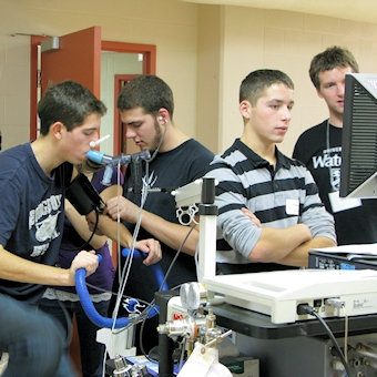 Group of students in physiology lab.