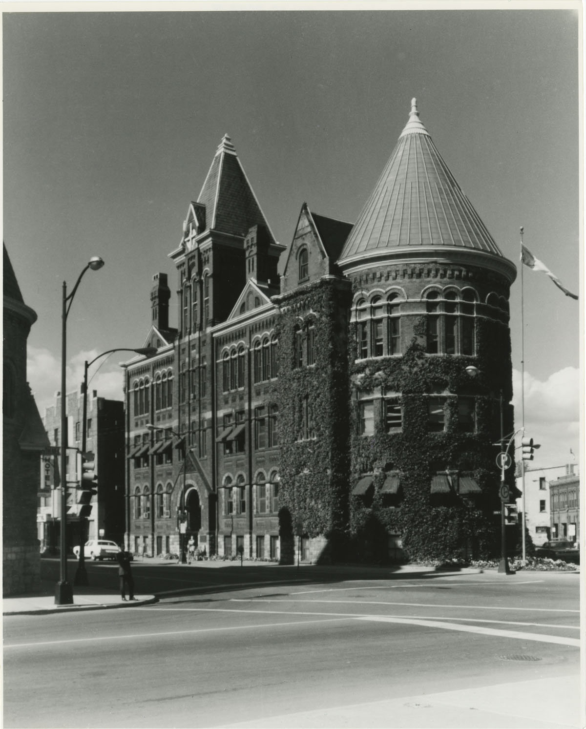 Harrison Hall in black and white.