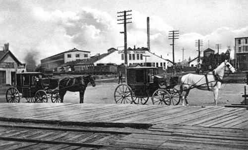 A historic black and white photograph of a viewpoint of the Stratfor shops in the background with two horses carrying buggies in front