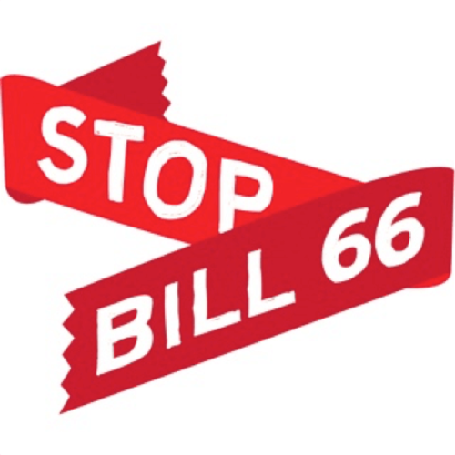 "An illustration of a ribbon reading ""Stop Bill 66"""