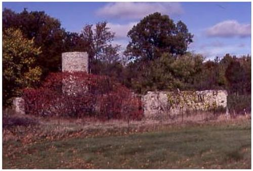 Demolished barn foundation and chimney in field