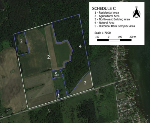 A site plan of a farm