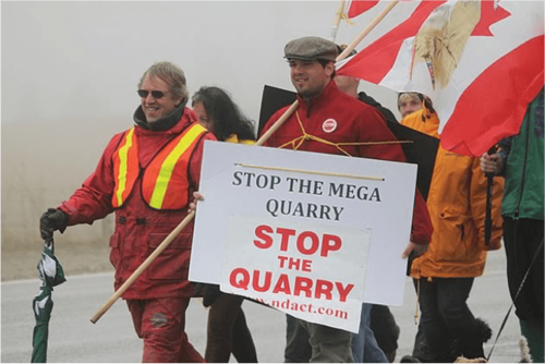 People protesting a quarry